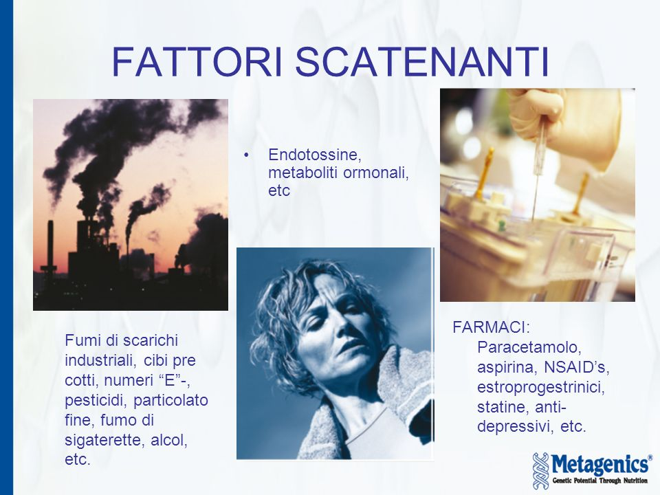 FATTORI SCATENANTI Endotossine, metaboliti ormonali, etc.