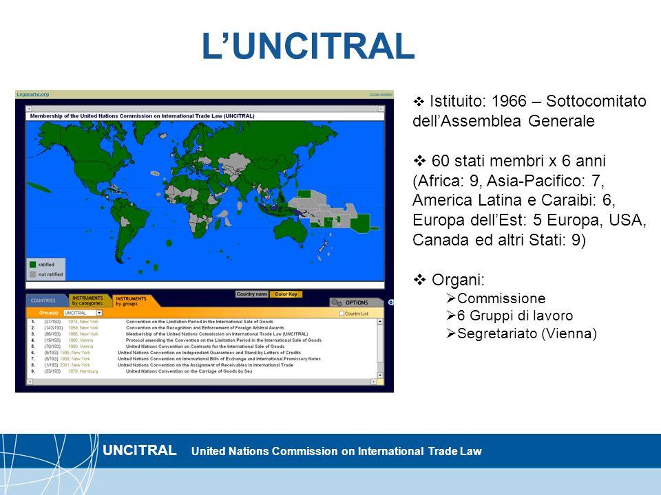 L'UNCITRAL Istituito: 1966 – Sottocomitato dell'Assemblea Generale.