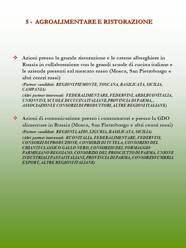 5 - AGROALIMENTARE E RISTORAZIONE