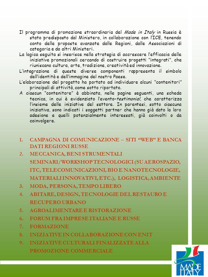 CAMPAGNA DI COMUNICAZIONE – SITI WEB E BANCA DATI REGIONI RUSSE