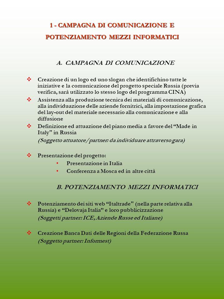 1 - CAMPAGNA DI COMUNICAZIONE E POTENZIAMENTO MEZZI INFORMATICI