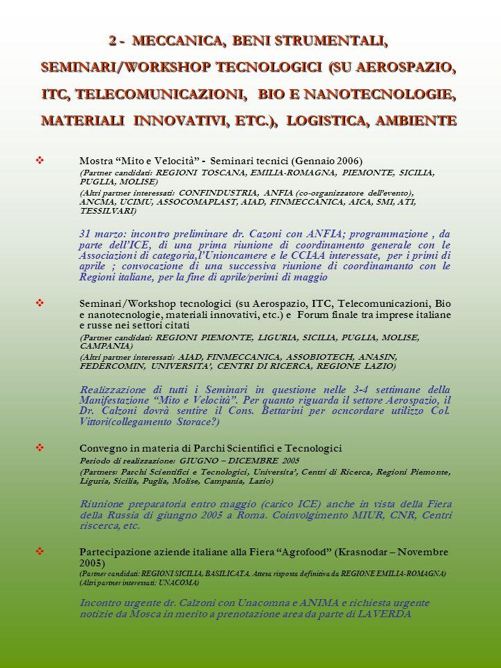 2 - MECCANICA, BENI STRUMENTALI, SEMINARI/WORKSHOP TECNOLOGICI (SU AEROSPAZIO, ITC, TELECOMUNICAZIONI, BIO E NANOTECNOLOGIE, MATERIALI INNOVATIVI, ETC.), LOGISTICA, AMBIENTE