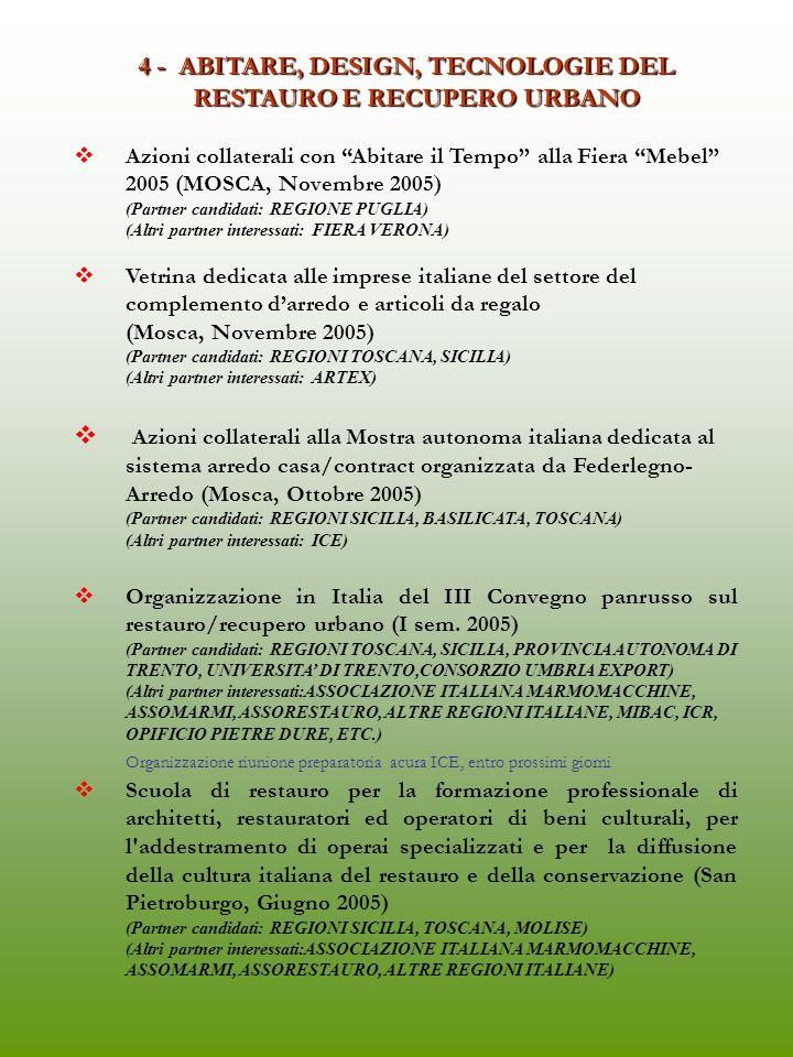 4 - ABITARE, DESIGN, TECNOLOGIE DEL RESTAURO E RECUPERO URBANO