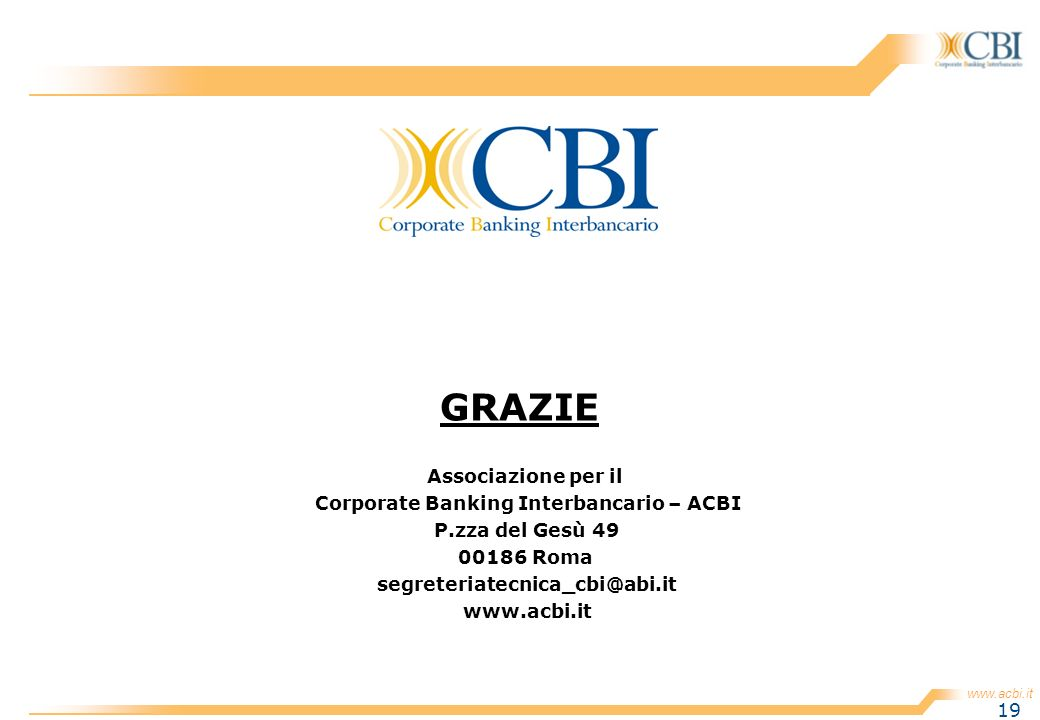 Corporate Banking Interbancario – ACBI