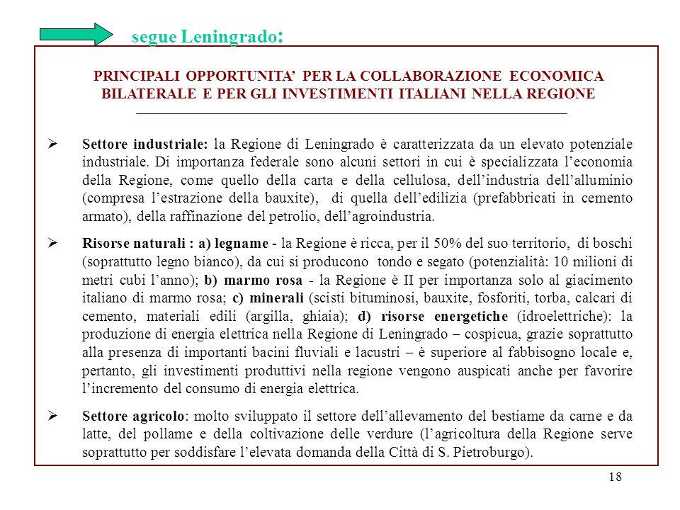 segue Leningrado: PRINCIPALI OPPORTUNITA' PER LA COLLABORAZIONE ECONOMICA BILATERALE E PER GLI INVESTIMENTI ITALIANI NELLA REGIONE.