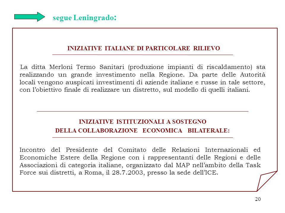 segue Leningrado: INIZIATIVE ITALIANE DI PARTICOLARE RILIEVO