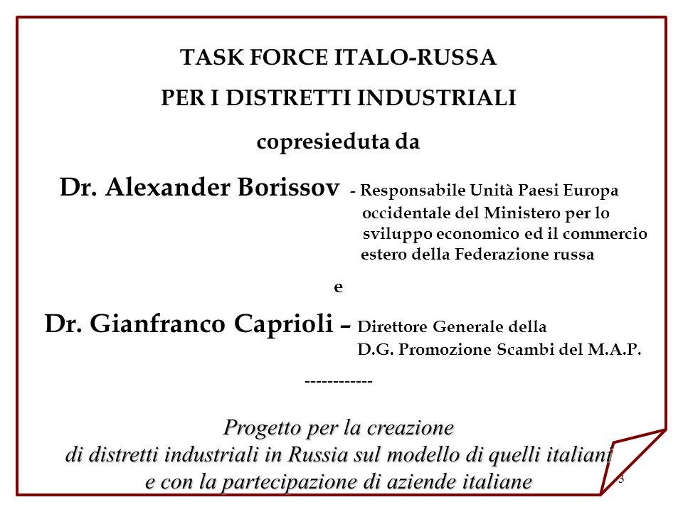 TASK FORCE ITALO-RUSSA PER I DISTRETTI INDUSTRIALI