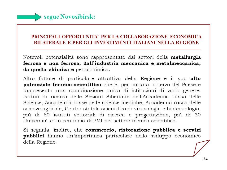 segue Novosibirsk: PRINCIPALI OPPORTUNITA' PER LA COLLABORAZIONE ECONOMICA BILATERALE E PER GLI INVESTIMENTI ITALIANI NELLA REGIONE.