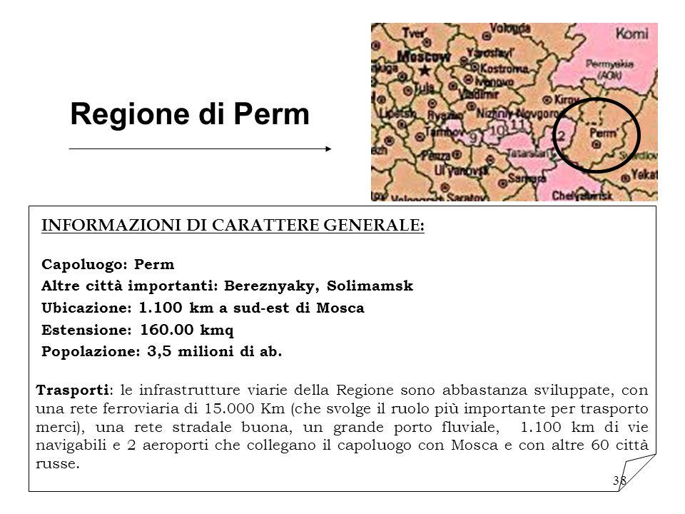 Regione di Perm INFORMAZIONI DI CARATTERE GENERALE: Capoluogo: Perm