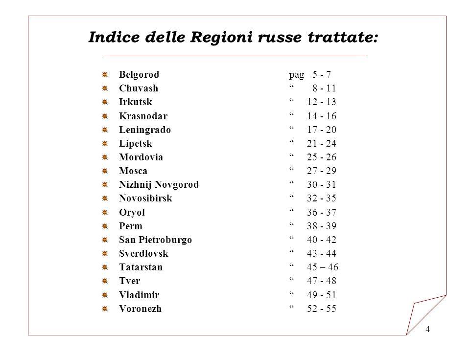 Indice delle Regioni russe trattate: