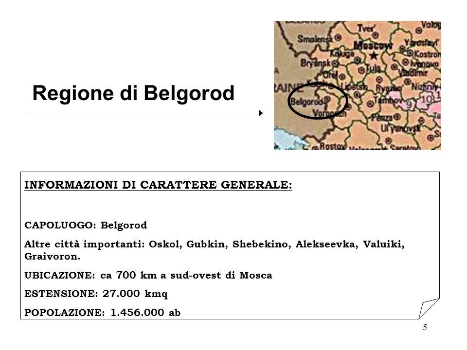 Regione di Belgorod INFORMAZIONI DI CARATTERE GENERALE: