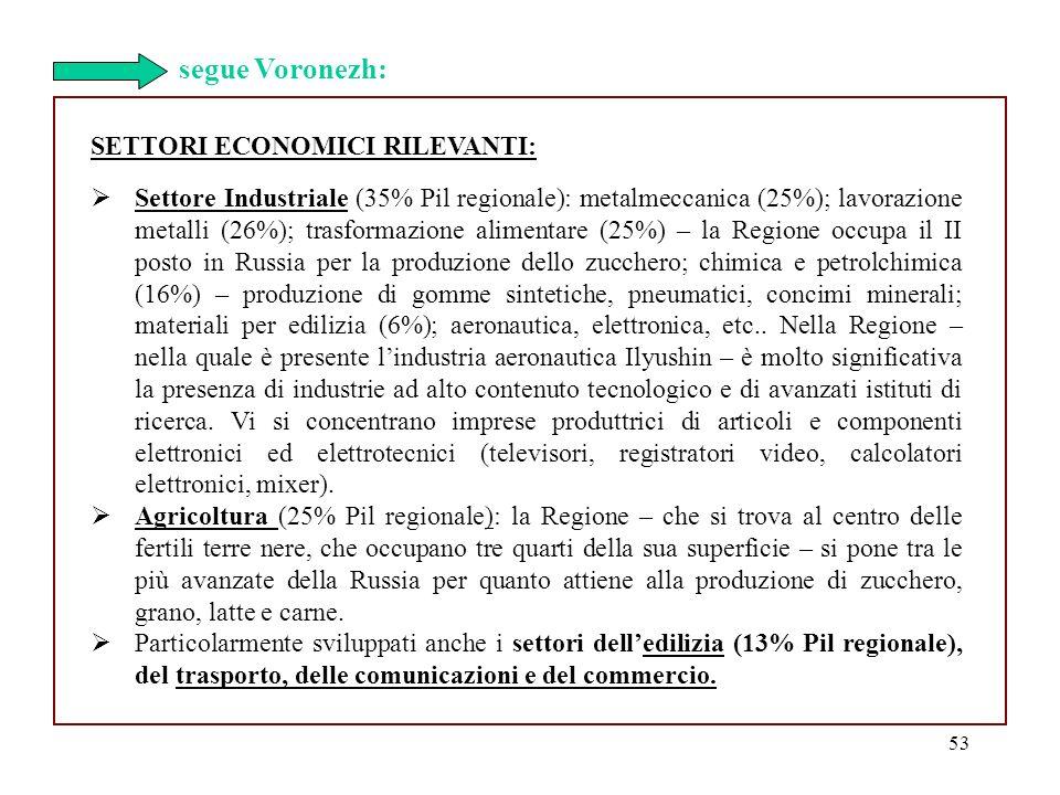 segue Voronezh: SETTORI ECONOMICI RILEVANTI: