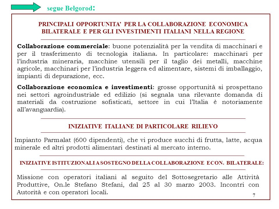 INIZIATIVE ITALIANE DI PARTICOLARE RILIEVO