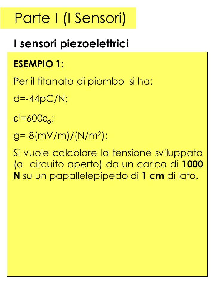 Parte I (I Sensori) I sensori piezoelettrici T=600o; ESEMPIO 1: