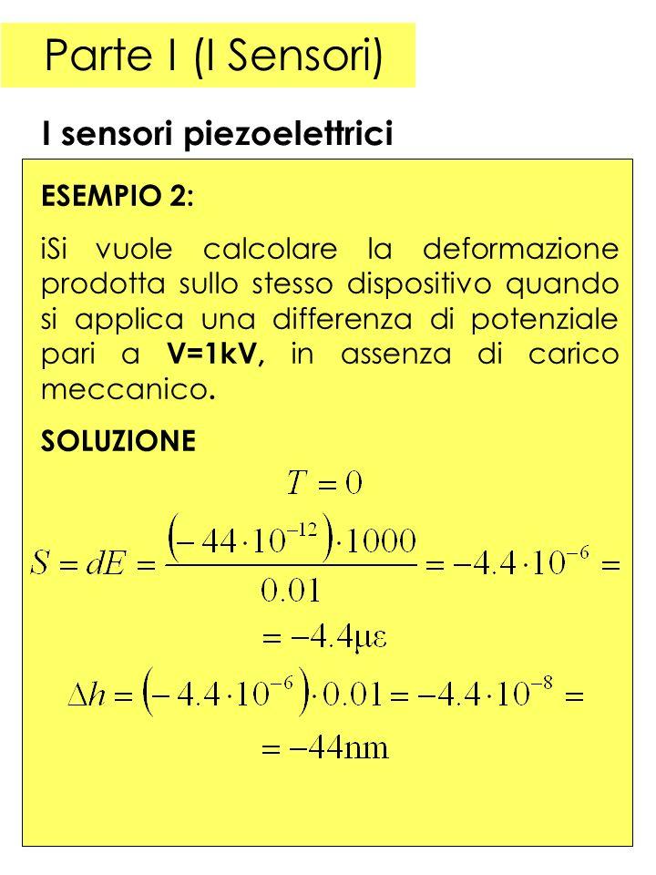 Parte I (I Sensori) I sensori piezoelettrici ESEMPIO 2: