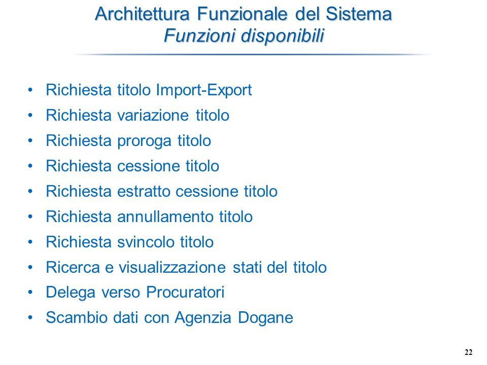 Architettura Funzionale del Sistema Funzioni disponibili