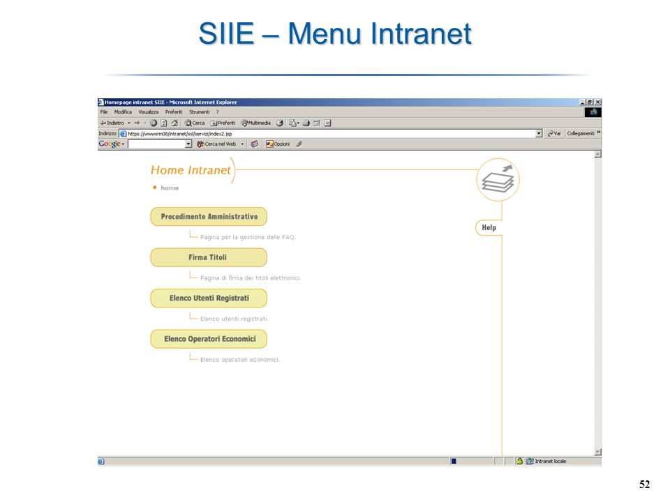 SIIE – Menu Intranet