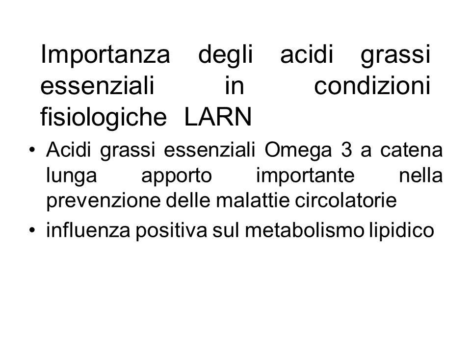 Importanza degli acidi grassi essenziali in condizioni fisiologiche LARN