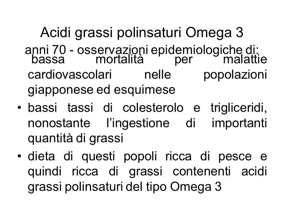 Acidi grassi polinsaturi Omega 3 anni 70 - osservazioni epidemiologiche di: