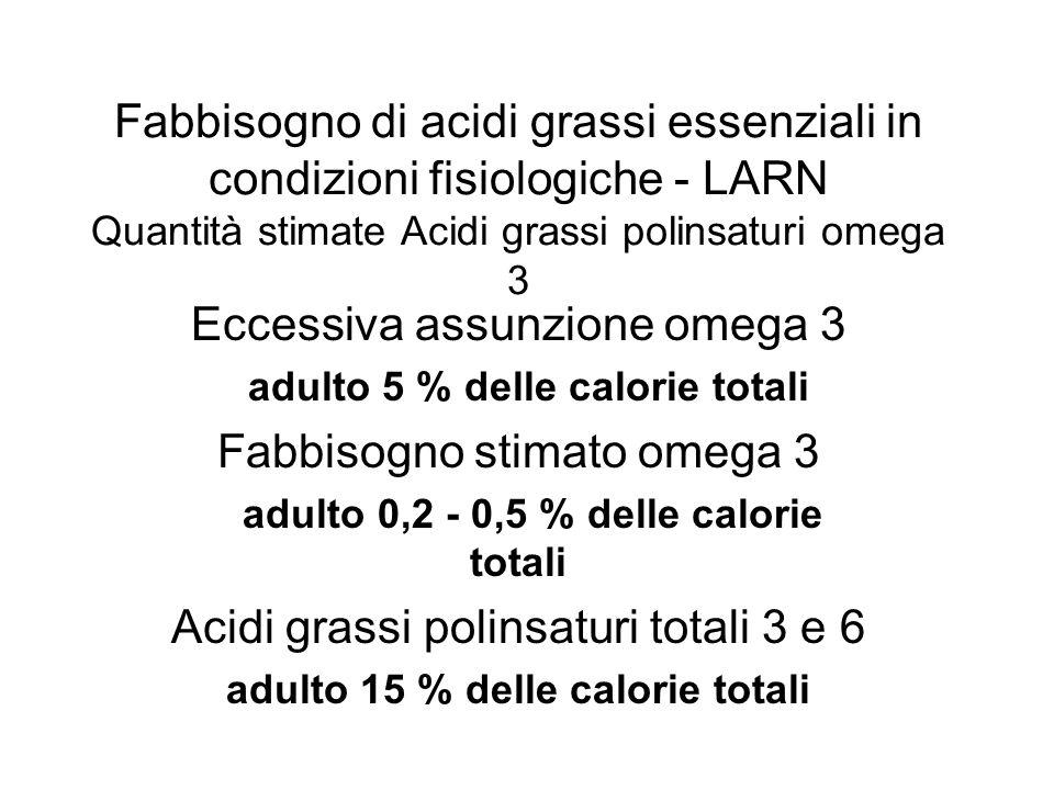 Eccessiva assunzione omega 3 Fabbisogno stimato omega 3