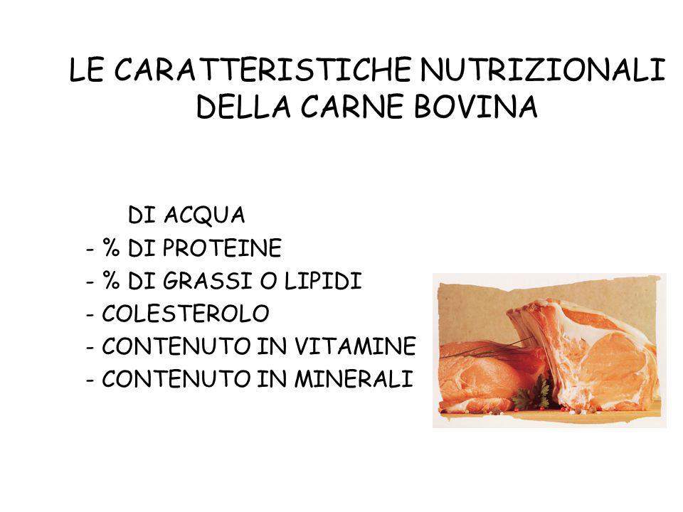 LE CARATTERISTICHE NUTRIZIONALI DELLA CARNE BOVINA