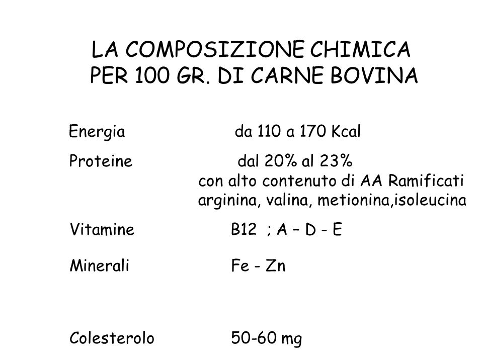 LA COMPOSIZIONE CHIMICA PER 100 GR. DI CARNE BOVINA
