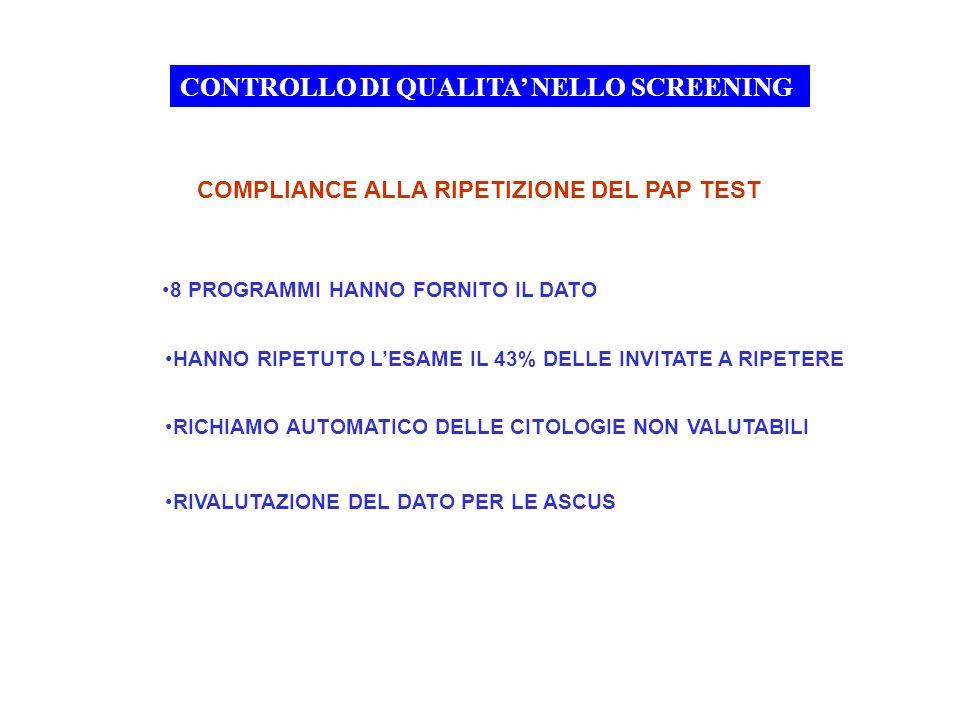 CONTROLLO DI QUALITA' NELLO SCREENING