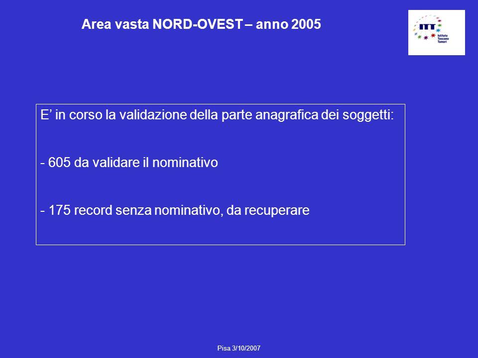 Area vasta NORD-OVEST – anno 2005
