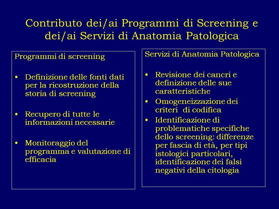 Contributo dei/ai Programmi di Screening e dei/ai Servizi di Anatomia Patologica
