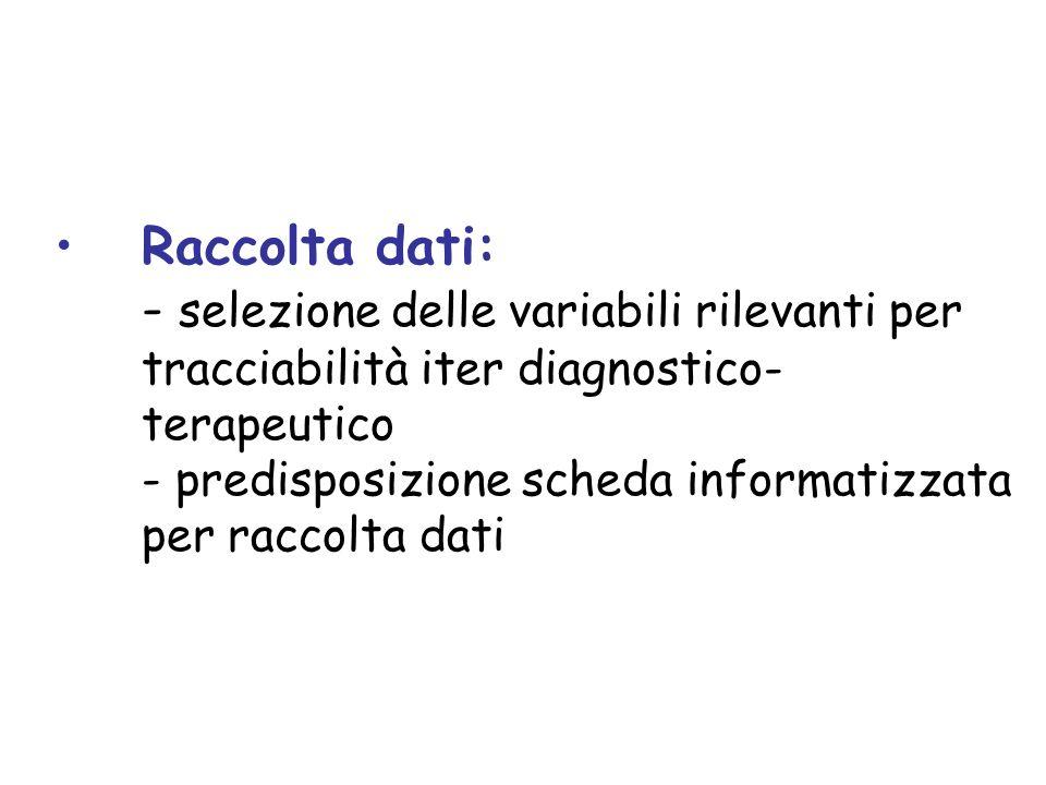 Raccolta dati: - selezione delle variabili rilevanti per tracciabilità iter diagnostico-terapeutico - predisposizione scheda informatizzata per raccolta dati
