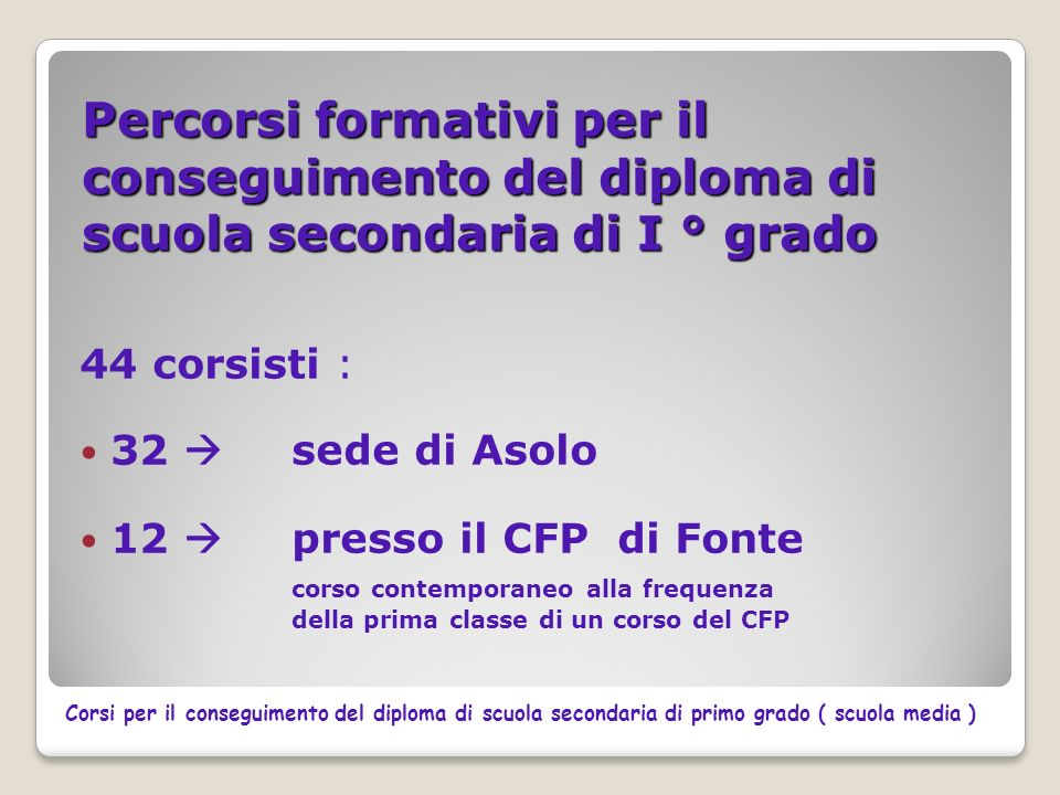 Percorsi formativi per il conseguimento del diploma di scuola secondaria di I ° grado