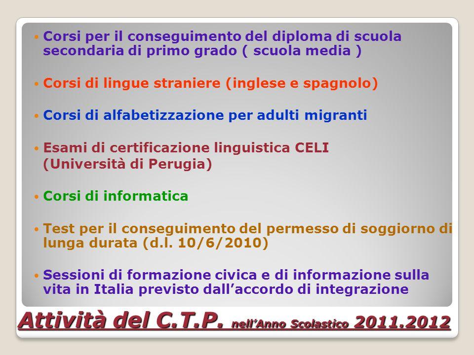 Attività del C.T.P. nell'Anno Scolastico 2011.2012
