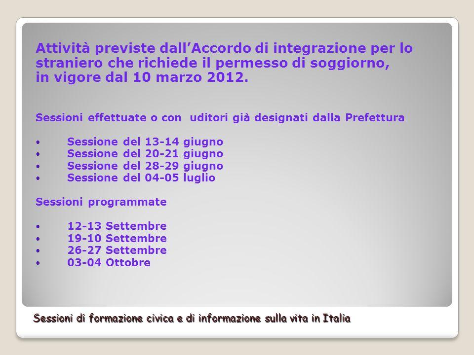 Sessioni di formazione civica e di informazione sulla vita in Italia