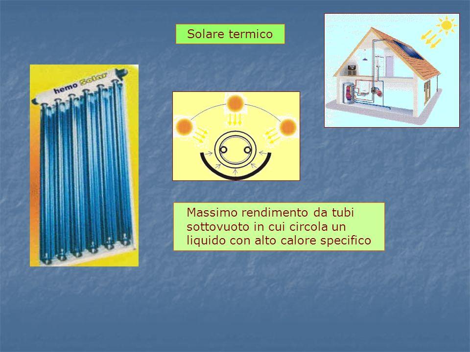 Solare termico Massimo rendimento da tubi sottovuoto in cui circola un liquido con alto calore specifico.