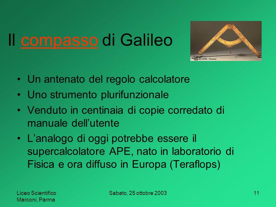 Il compasso di Galileo Un antenato del regolo calcolatore