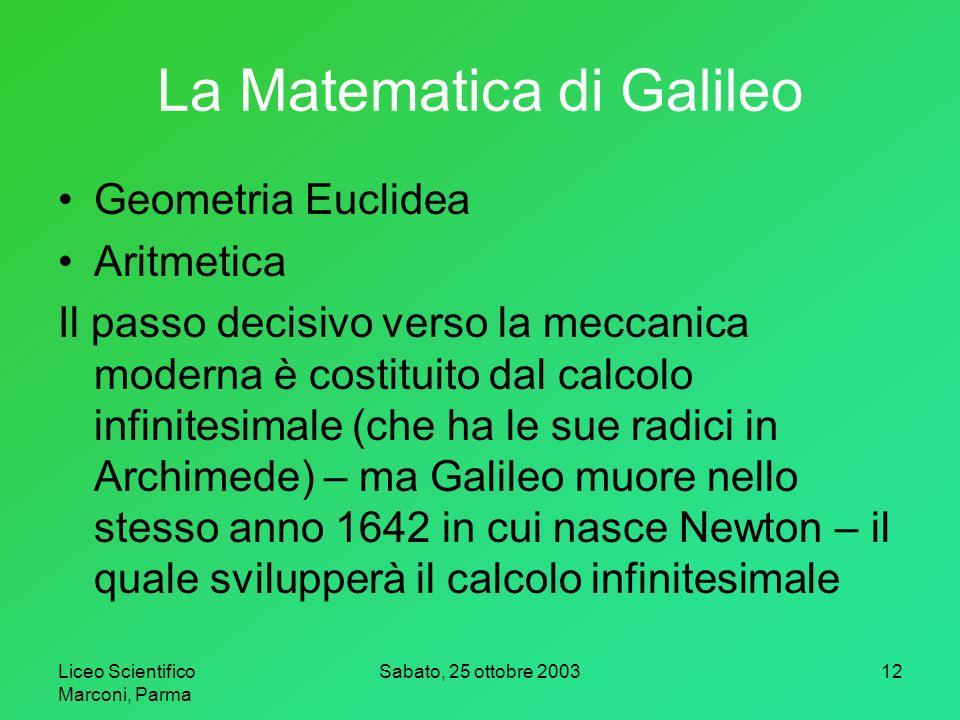La Matematica di Galileo