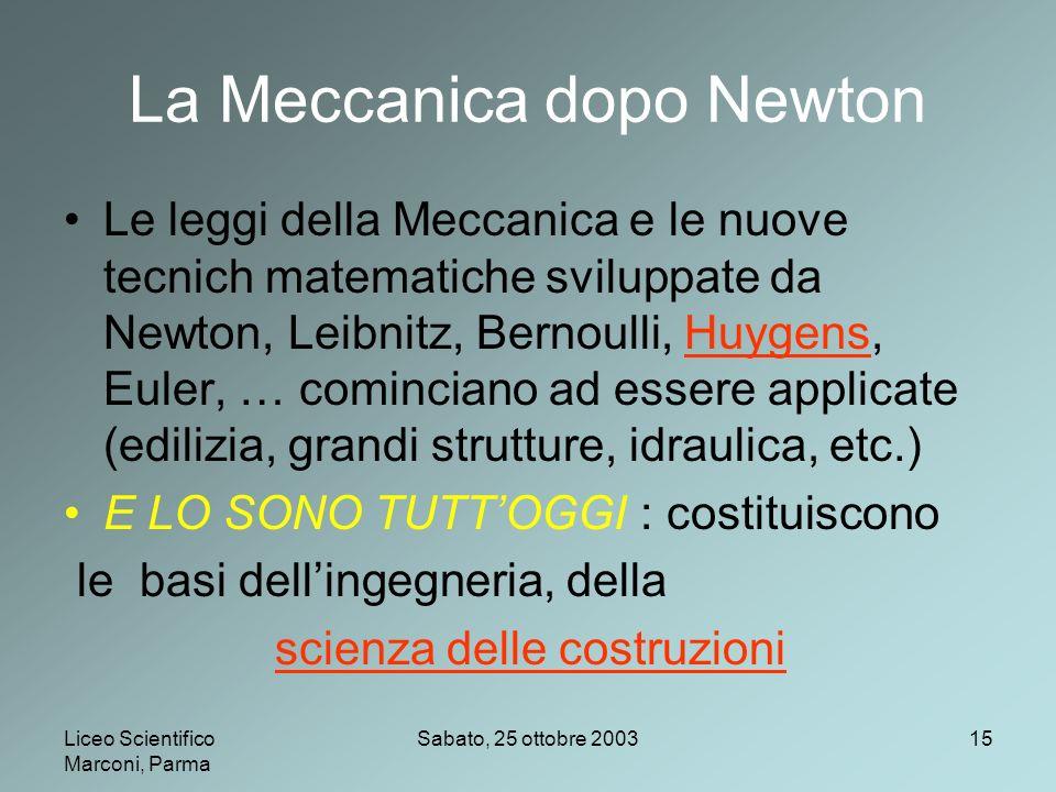 La Meccanica dopo Newton