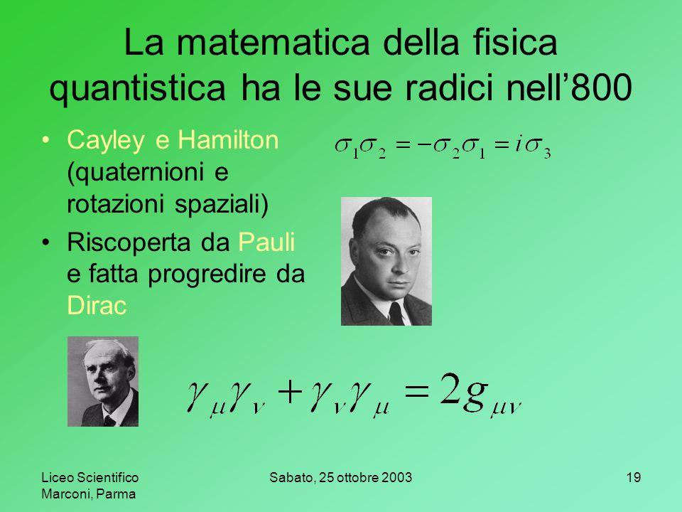 La matematica della fisica quantistica ha le sue radici nell'800