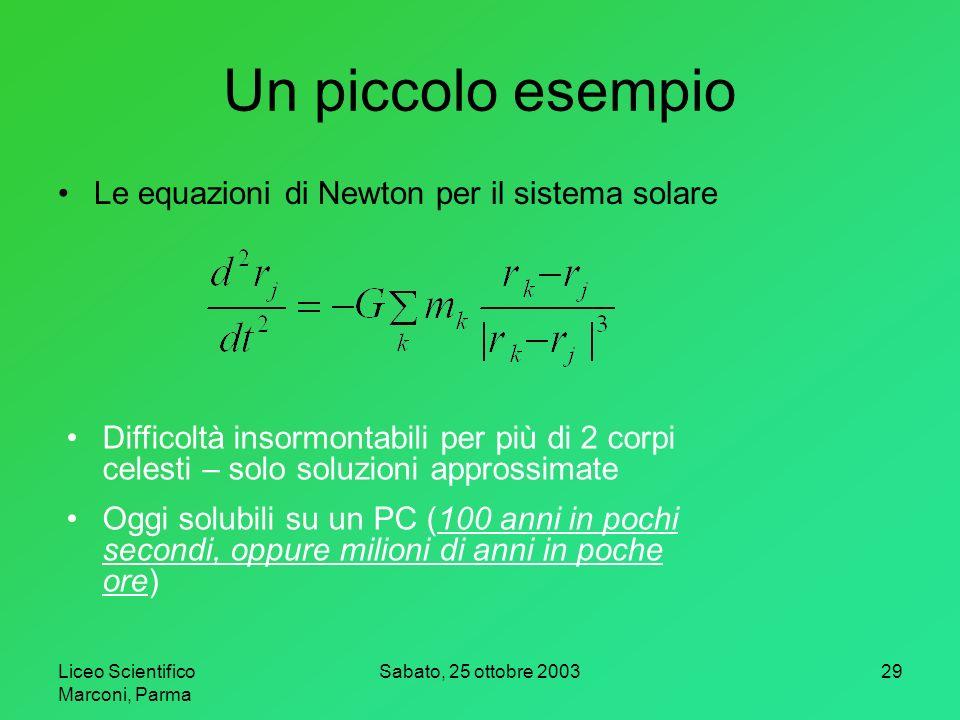 Un piccolo esempio Le equazioni di Newton per il sistema solare