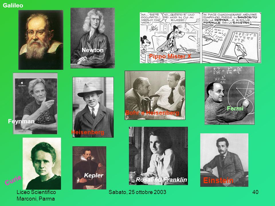 Einstein Curie Galileo Newton Pippo Mister X Bohr e Heisenberg Feynman