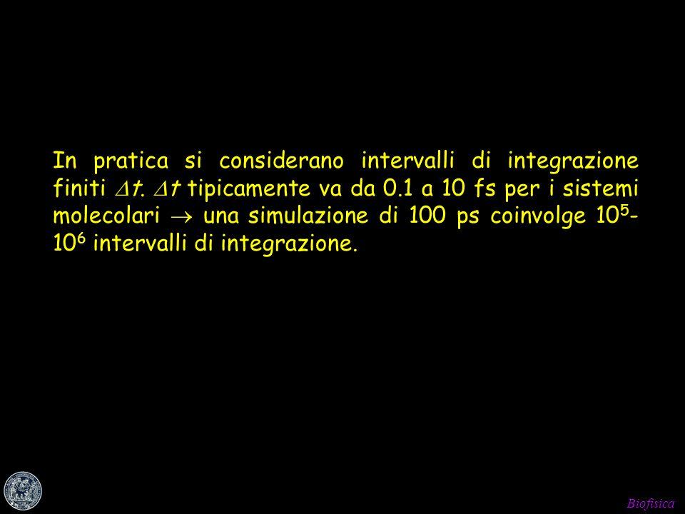 In pratica si considerano intervalli di integrazione finiti Dt