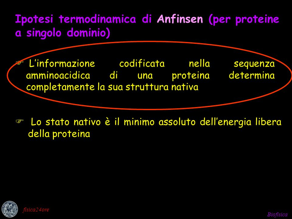 Ipotesi termodinamica di Anfinsen (per proteine a singolo dominio)