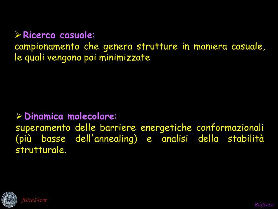 Ricerca casuale: campionamento che genera strutture in maniera casuale, le quali vengono poi minimizzate.