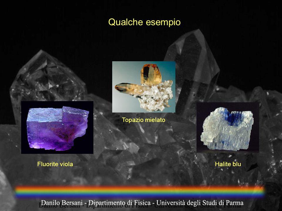Qualche esempio Topazio mielato Fluorite viola Halite blu