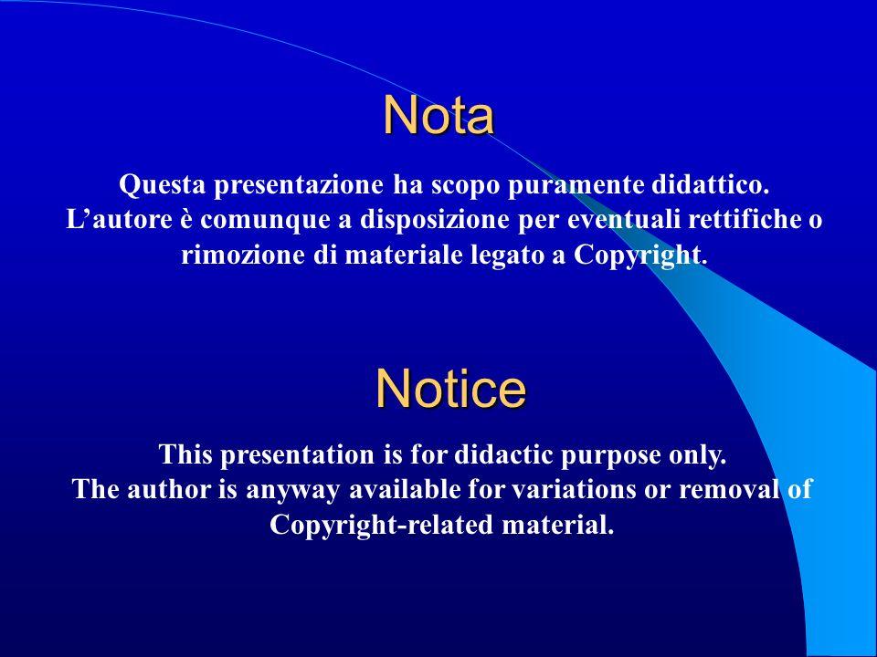 Nota Notice Questa presentazione ha scopo puramente didattico.