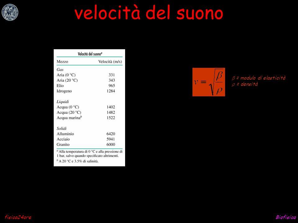 velocità del suono b = modulo di elasticità r = densità fisica24ore