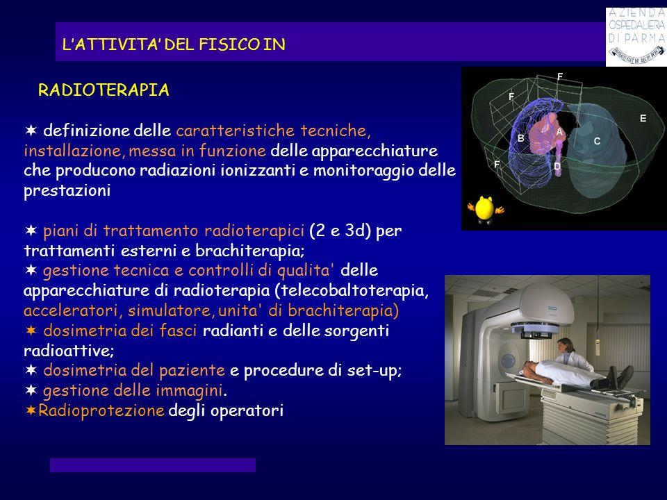 dosimetria dei fasci radianti e delle sorgenti radioattive;
