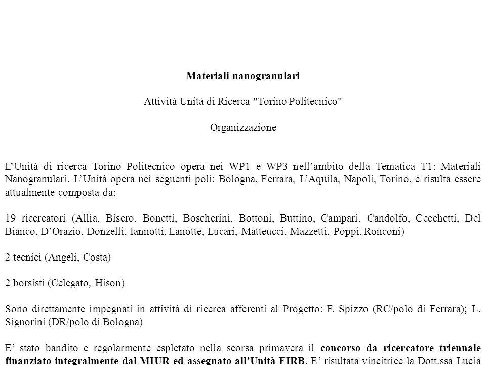 Materiali nanogranulari Attività Unità di Ricerca Torino Politecnico