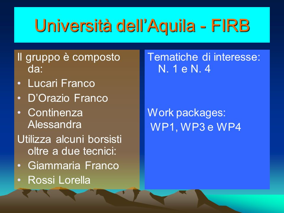Università dell'Aquila - FIRB