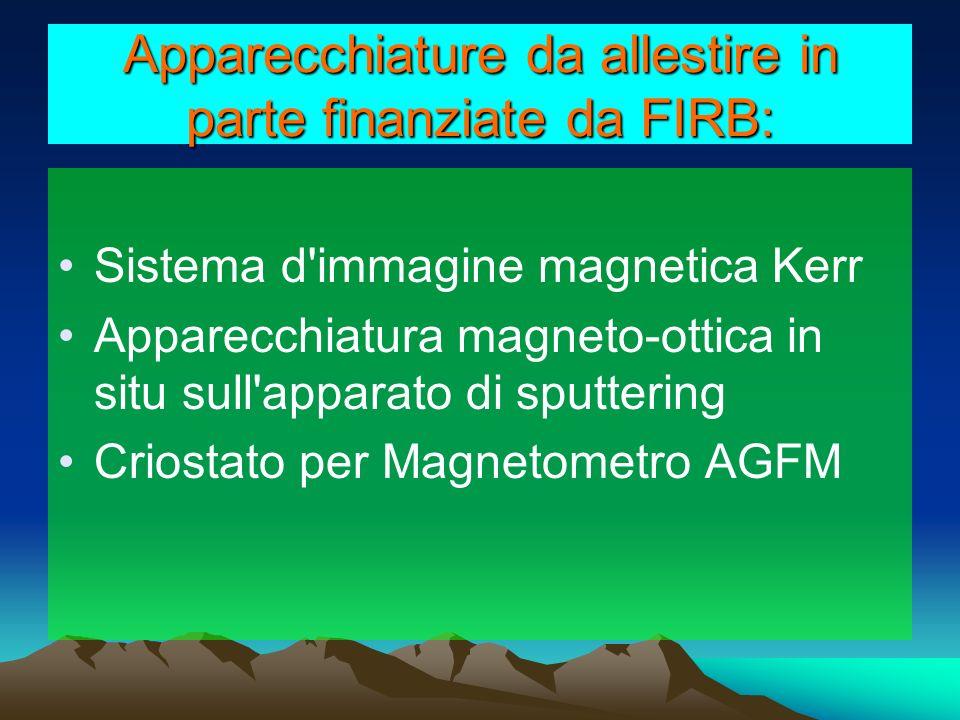 Apparecchiature da allestire in parte finanziate da FIRB: